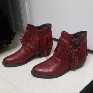NWOT Red Leather Ankle Booties Studded Fringe